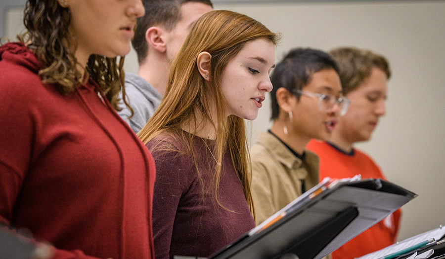 students singing in choir