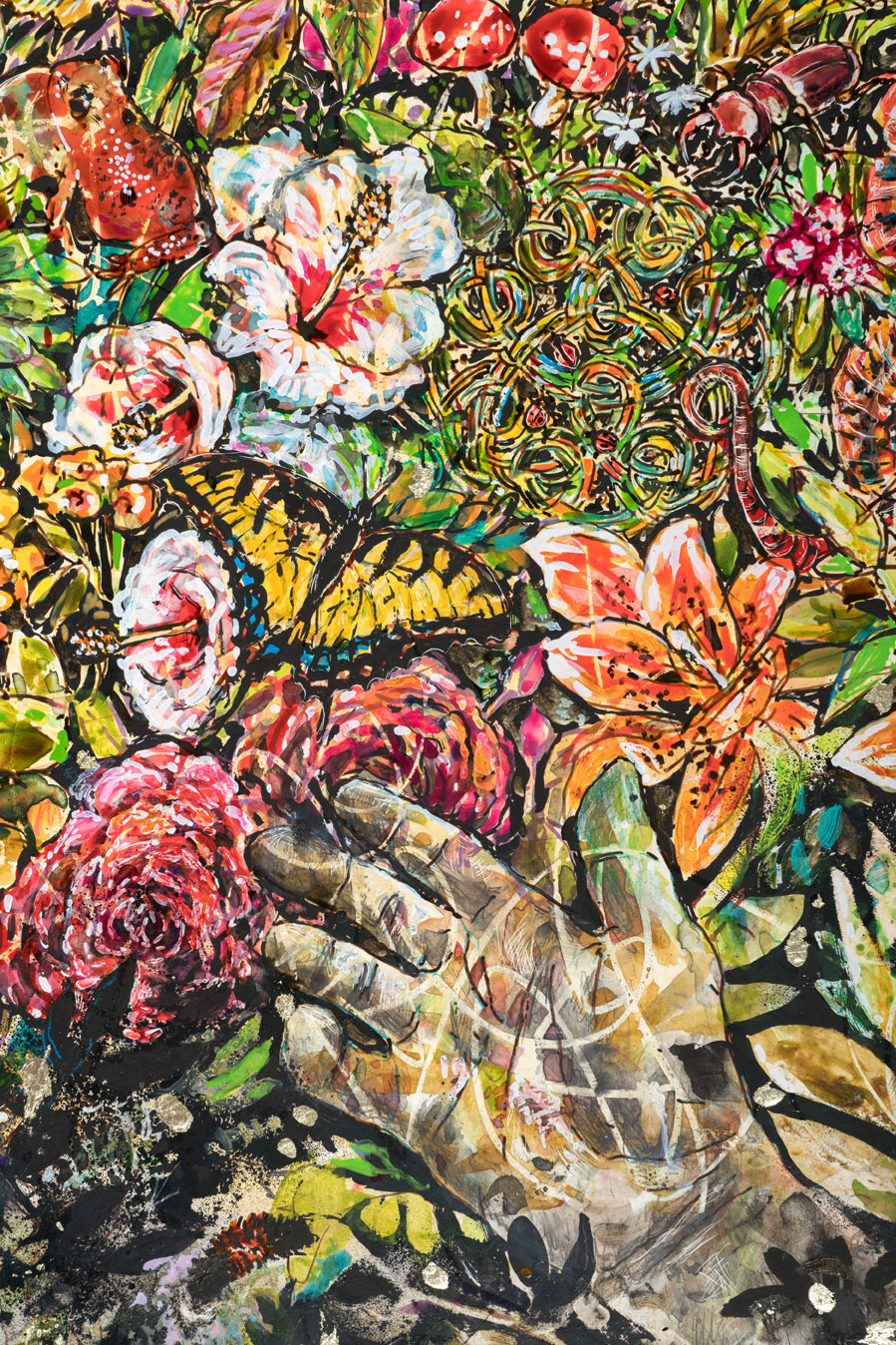Elli Crocker painting of colorful hand and flowers