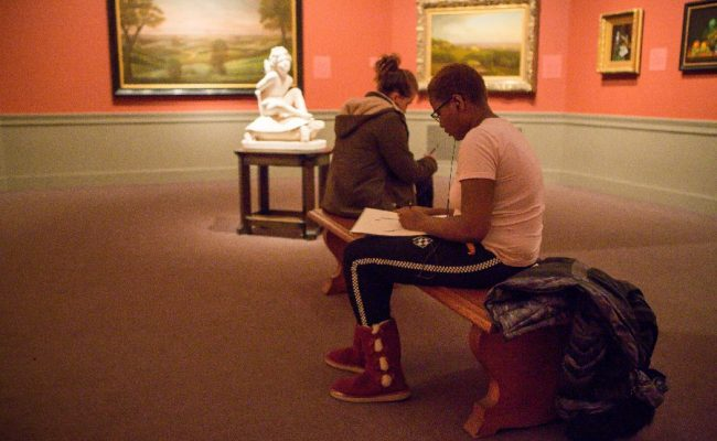 Students sketching at Worcester Art Museum