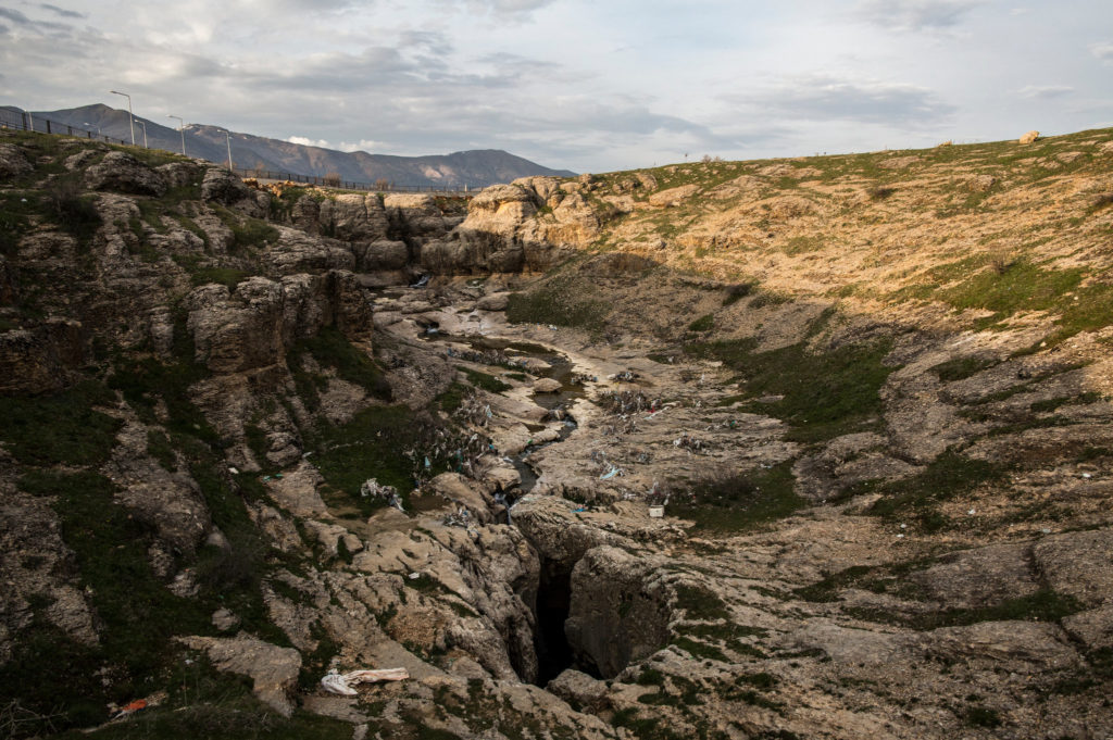 small stream flowing into the Dudan cave in Turkey
