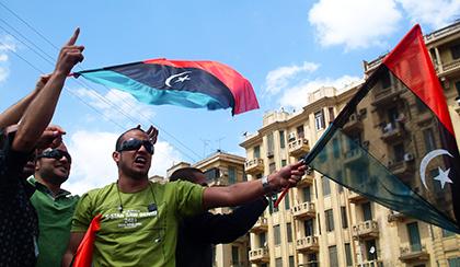 Libyian men protesting