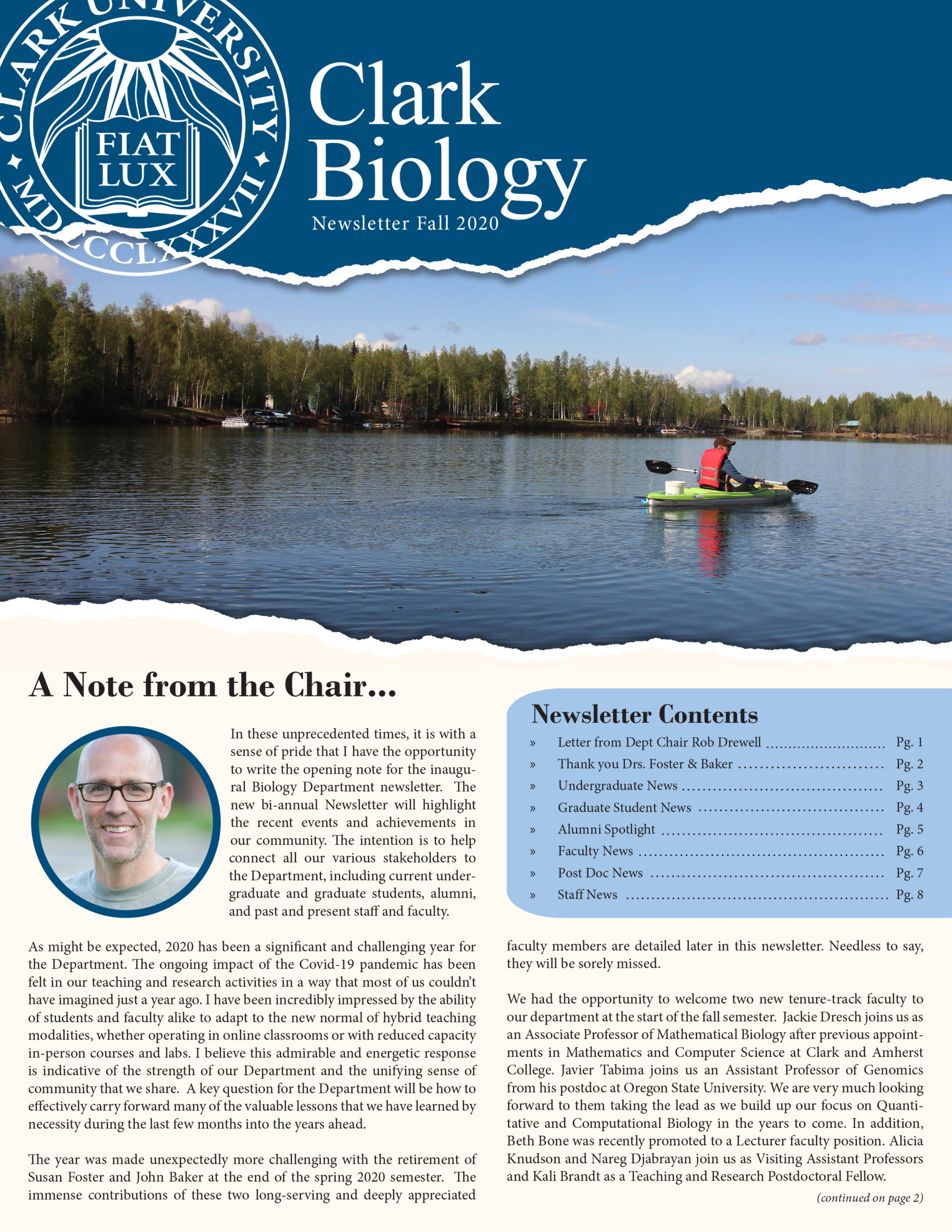 Front page for Biology Department Newsletter