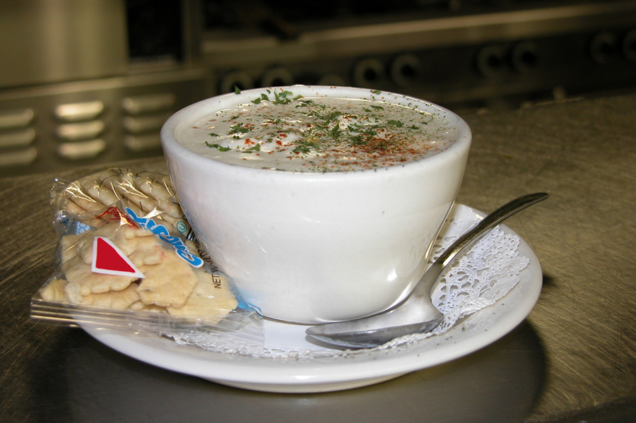 a cup of clam chowder