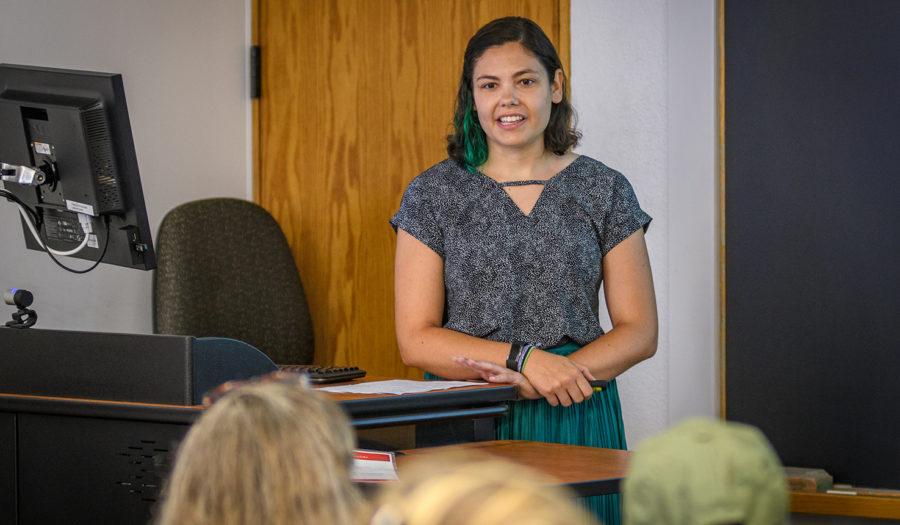 Elizabeth Lohr speaks to a room of stakeholders