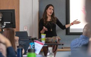 Sarira Khan in front of presentatin