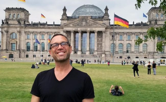 Robert Tobin in front of German Bundestag building in Berlin