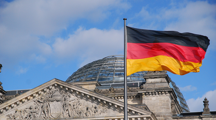 german flag in front of government building