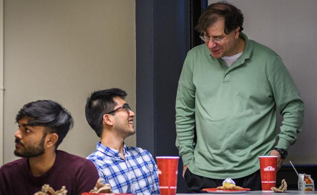 Gideon Maschler talking to students