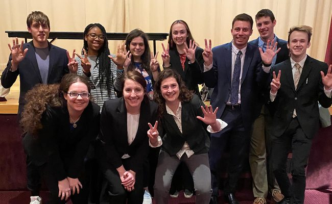 The Mock Trial B team earns an at-large bid to the sub-national tournament at Princeton