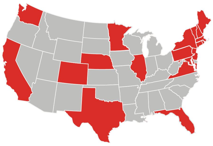 US Map representing students in North East states, Florida, Texas, California, Washington, Minnesota, Illinois, Colorado, Nebraska