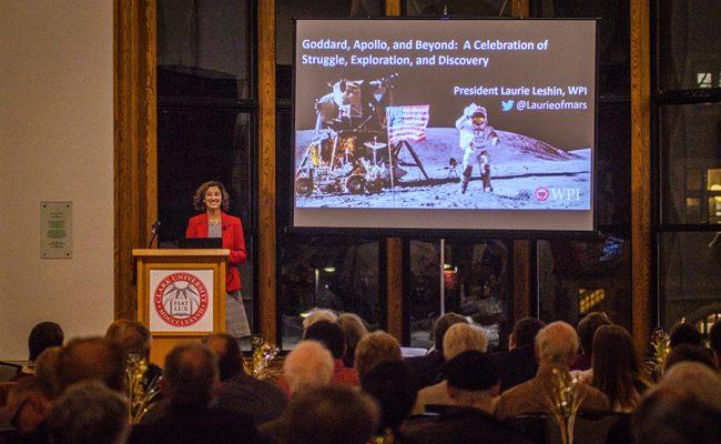 Laurie Leshin speaking at podum