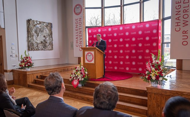David Fithian giving speech