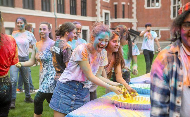 students with powder spray