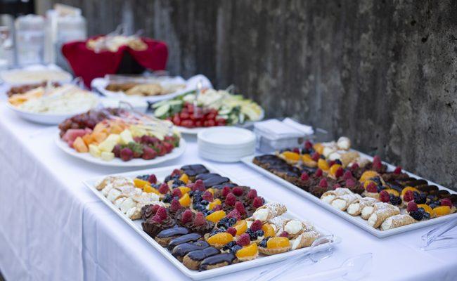 food displayed on tables