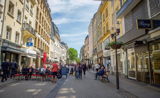 People walking through the streets of Luxembourg