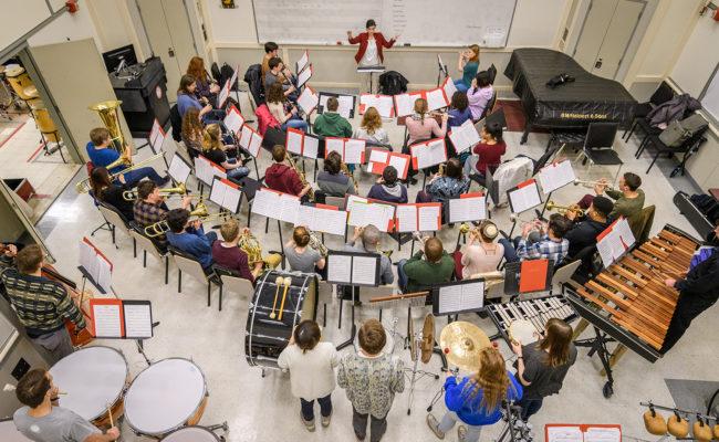Clark University concert band rehearsal