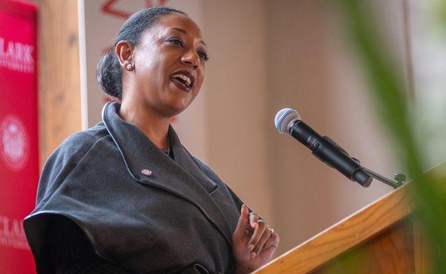 Esther Jones giving speech