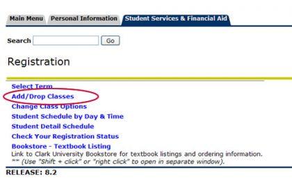 screen shot add/drop classes