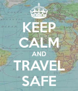 keep calm and travel safe poster