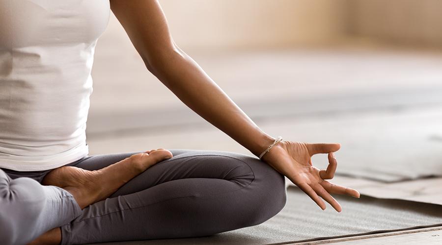 Student doing yoga