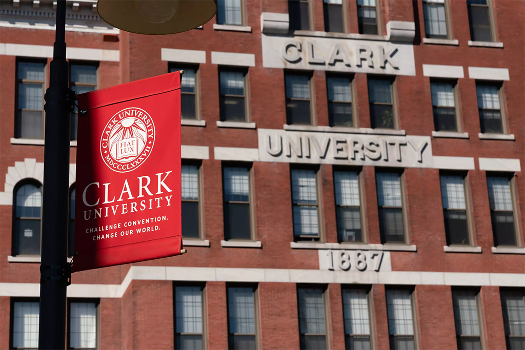 jonas clark building with banner