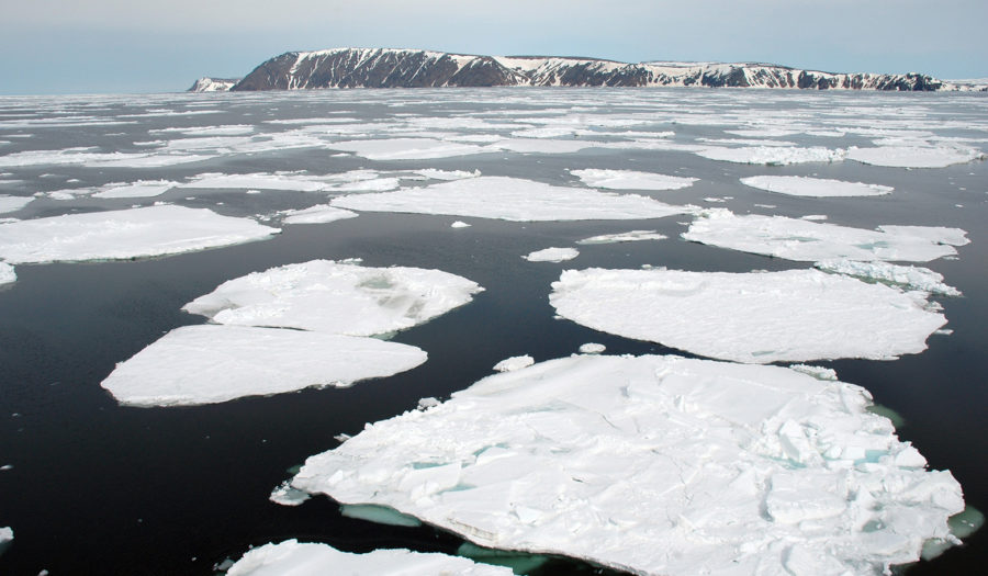 ice bergs floating in water