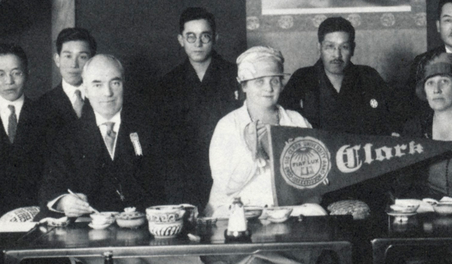 Wallace W. Atwood and his wife with Japanese alumni