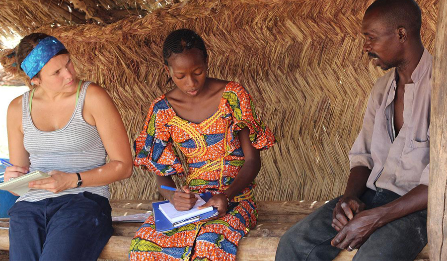 Student conducting a survey in Africa