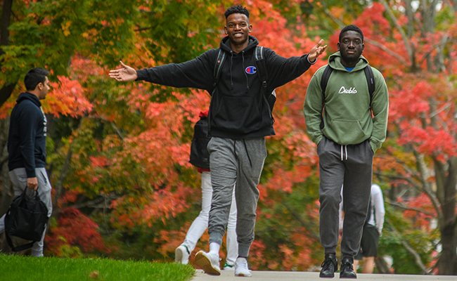 male students walking down path with leaves in backgroun