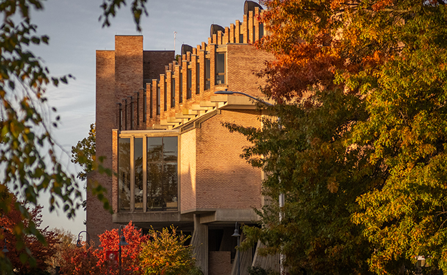 Goddard Library with fall foliage